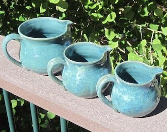 Set of three Pitchers -  Cremer- Gravy - Juice - Handmade Pottery