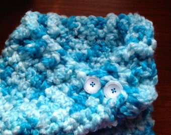 RTS 1-3 Yrs, 2-5 Yrs Cozy Cowl Crocheted Variegated Blues Photo Prop Scarf Shawl