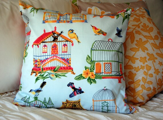 Birdhouse Garden Pillow, bird lover, Asian style, garden pillow, home decor, summer bedding, gift for her, yellow and blue, sunroom pillow