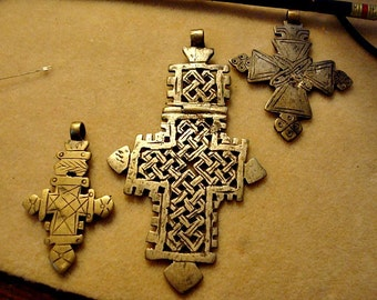 SET of vintage Ethiopian Coptic Crosses from Africa  discounted FREE SHIP