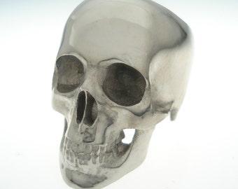 18k white gold/palladium skull ring full
