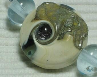 """Handmade Glass Lampwork Beads, """"Ivory/Aqua"""" straight sided lentil, focal, filler, art"""