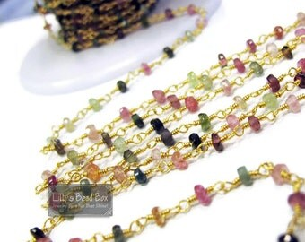 Gemstone Rosary Chain, Natural Gemstones, Multi Tourmaline Rosary Chain, By The Foot, Handmade Chain for Making Jewelry