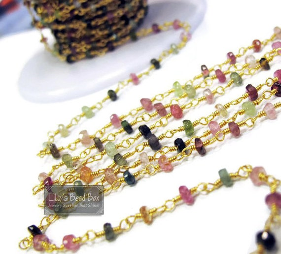 Gemstone Rosary Chain, Natural Gemstones, Multi Tourmaline Rosary Chain, By The Foot, Handmade Chain for Making Jewelry