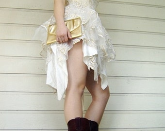 Vintage prom dress Bubble skirt Party Dress from the 1980's gold sequence glitter size 6 cream lace