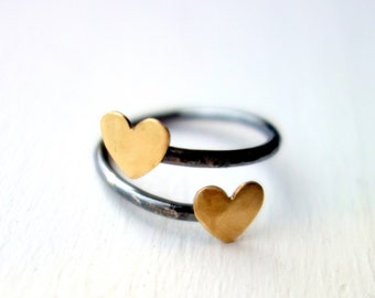 Two Hearts on a Finger- Sterling Silver and Brass Ring