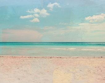 Soft Sea - Miami Beach Art Print, Florida Landscape Photography Mixed Media by Leigh Viner