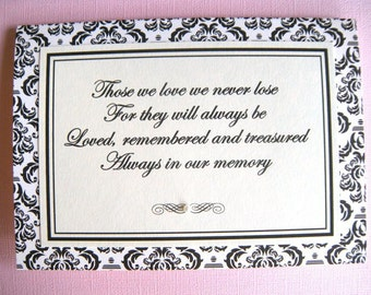 5x7 Tent Folded Always in Our Memory Wedding Sign in Black and Cream Damask - READY TO SHIP