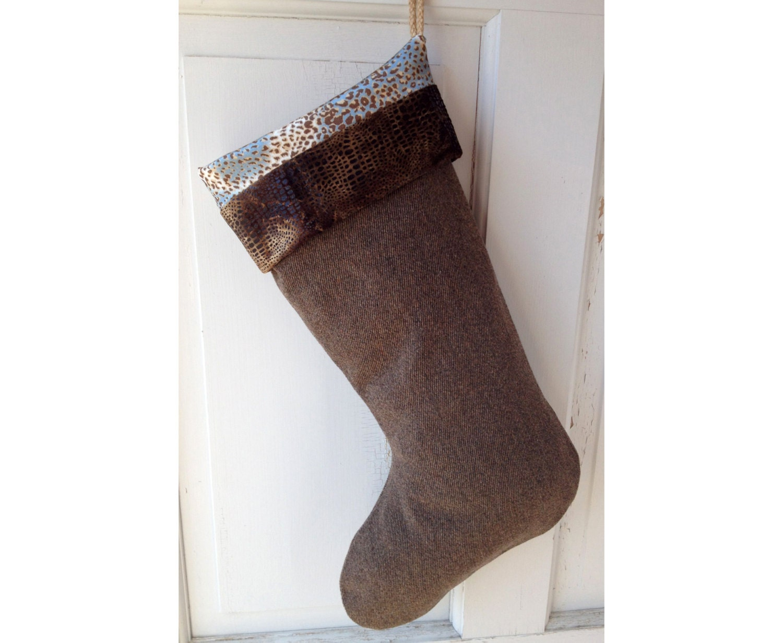 Large Modern Wool Christmas Stocking Animal by spongetta on Etsy
