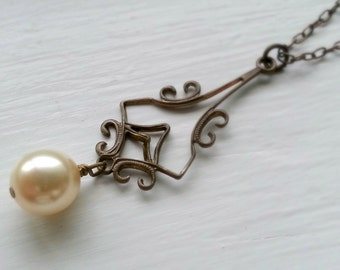 Victorian Style Filagree Pearl Pendant Necklace Antiqued Brass And Pearl Necklace Bridesmaid Bridal Necklace