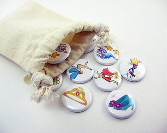 Wooden or Metal Matching Game, Toys, Learning, School  - fairy tale, princess, fairy, crown, shoe, wand 1215