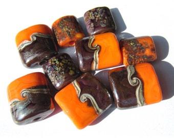 Lampwork Glass Handmade Nugget Beads orange brown purple sis