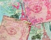Buy 1 Get 1 FREE Chic Paris Rose - French Ephemera - Antique Shabby Paper - 12x12 Digital Collage 4 Image Set - INSTANT Download