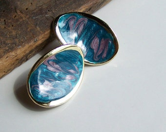 Enamel Jewelry, Enamel Earrings, Blue and Purple Enamel, Clip On Earrings, Etsy, Etsy Jewelry, Vintage Jewelry, Etsy Vintage