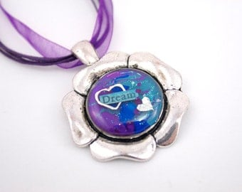 Dream Heart Flower Necklace Purple Blue Turquoise Resin