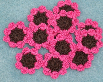 crochet applique flowers in brown and pink cotton thread  --  1102