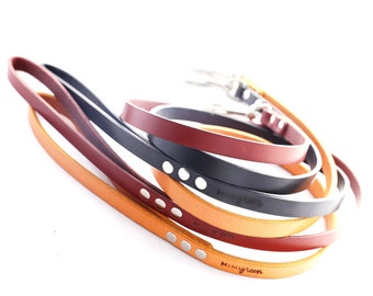 Leather Dog Leash - 4' or 5' - 3 colors to choose from