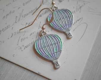 Hot Air Balloon Dangle Earrings. Silver Balloon Dangles. Hand Painted Pastel Purple & Aqua Up and Away Earrings. Fun Gift for Her Under 20