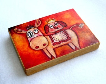 Art Print on Wood Block, ACEO ATC, Donkey and Owl Bird Art Print, Artist Trading Card, Magnet or Drilled Hole, Watercolor, Orange Red Pink