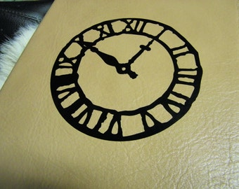 Large Leather Book Journal Weathered Clock Cover Tan Color 10 x 7.25 w  Plus Custom Stamping Free