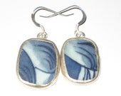 Midnight blue - Porcelain upcycled pottery shard earrings Ming Dynasty on Sterling Silver Earwires