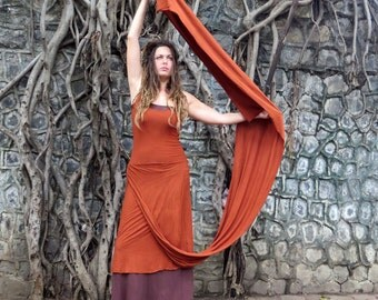 Organic Sari Kerela Below Knee Wanderer Dress (light hemp/organic cotton knit)
