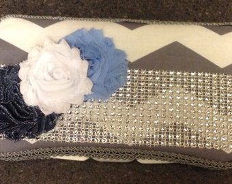 RHINESTONE Grey Gray Chevron Travel Wipe Case with ribbon and frayed rosettes