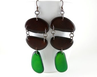 Coffee Brown and Kelly Green Shoulder Duster Trio of Tagua Nut Eco Friendly Earrings with Free USA Shipping #taguanut #ecofriendlyjewelry
