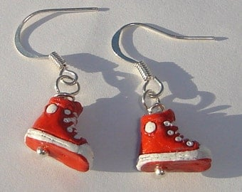 petite ceramic red high tops from Peru pierced dangle hand made wire wrapped earrings