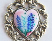 SALE Hand Painted Flower Heart Charm or Pendant