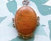 Vintage Sterling & Agate Pendant, Large