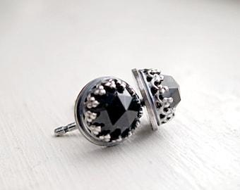 Black Spinel earrings| Sterling Silver| studs | black gemstone