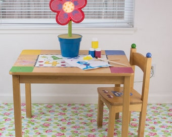 "Splat Mat/Tablecloth ""Blue Polka Dot Rose "" - Laminated Cotton BPA  & PVC Free - Choose Your Size below!"