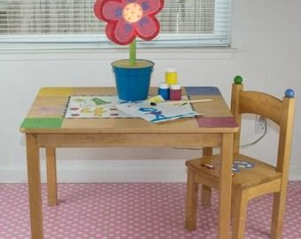 """Splat Mat/Tablecloth """"Pink Starburst"""" - Laminated Cotton BPA  & PVC Free - Choose Your Size below!"""