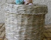 Covered Basket, Seagrass Basket with cover embellished with seashells, covered basket, organization, storage