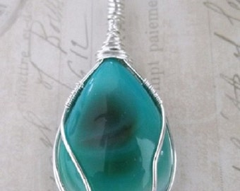 Sterling Silver Wire Wrapped Blue Green Agate Pendant