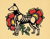 Dia de los Muertos Dog DOBERMAN Day of the Dead Art Print 5 x 7, 8 x 10 or 11 x 14 - Choose your own words - Donation to Austin Pets Alive