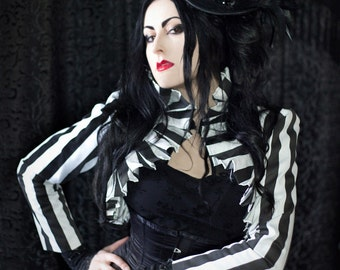 Stripe Pleat Jacket, Gothic, Pirate, Steampunk