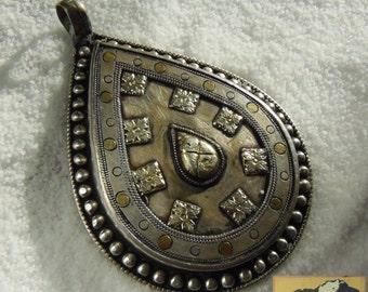 Afghanistan, Vintage Sterling Silver Teardrop Pendant, JE3