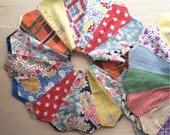 Quilt Blocks,Vintage,Dresden Plate, 12blocks,Scrappy,1940s to 50s, fabrics,Quilts,Quilting Blocks
