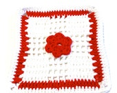 Red And White Flower Crocheted Square Dish Cloth