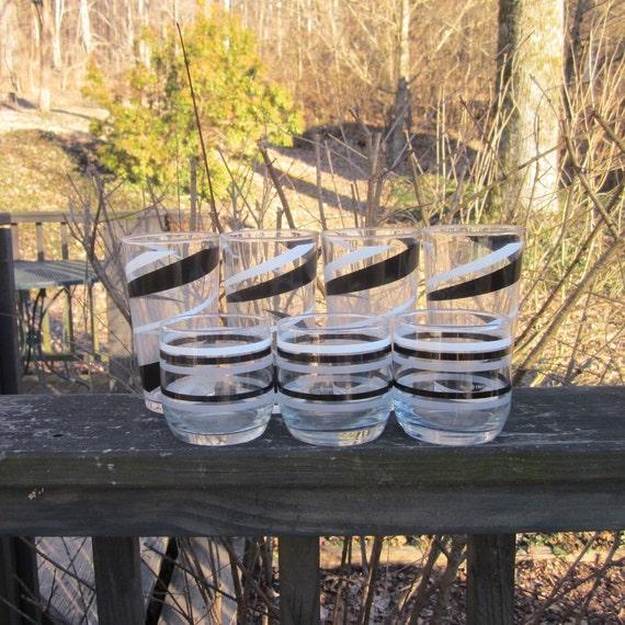 Seven Vintage Beverage Glasses - Black and White Retro