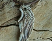 Rustic Angel Wing Porcelain Pendant 2