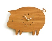 Sale, Clearance, Decorative Wall Clock, Ecofriendly Bamboo Pig