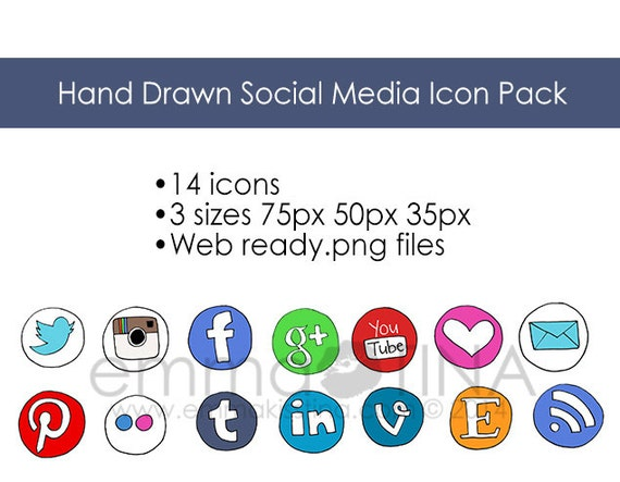 Hand Drawn Social Media Icon Pack Digital Download