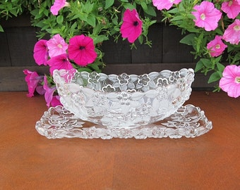 Vintage Serving Bowl, Vintage Glass Tray, Vintage Glass Platter