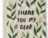 Thank You My Dear Modern Floral Card