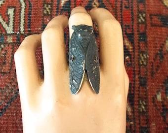 Adjustable cicada statement ring, cicada jewelry, Gothic jewelry, insect jewelry,Goth, insect ring, cicada ring, steampunk, statement ring