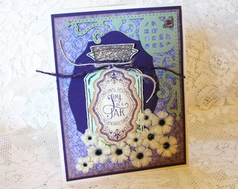 Joy in a Jar Apothecary Card, Shabby Chic, Blank inside, All Occasion, Twine, Rustic Vintage Grunge style, Brown, Green and Purple