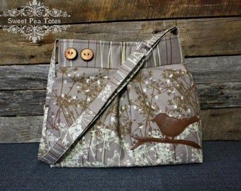 Shoulder bag / Pleated Handbag / Purse / Bird and Branches